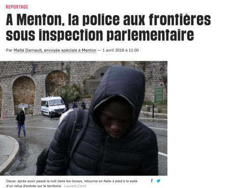 A Menton, la police aux frontières sous inspection parlementaire (Libération)
