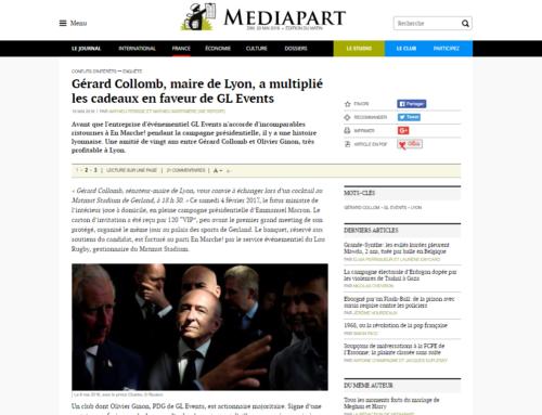 Gérard Collomb, maire de Lyon, a multiplié les cadeaux en faveur de GL Events (Mediapart)