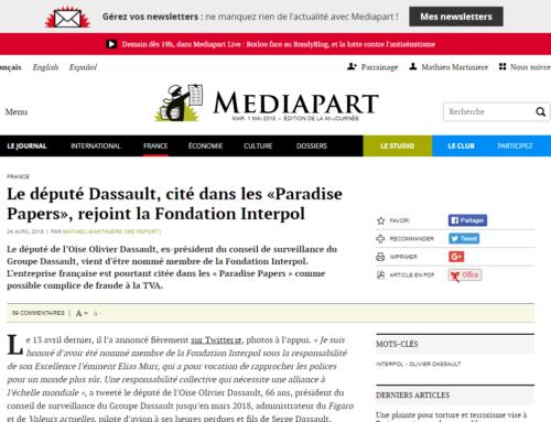 Dassault, cité dans les «Paradise Papers», rejoint la Fondation Interpol (Mediapart)