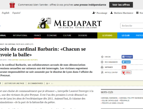 Procès du cardinal Barbarin: «Chacun se renvoie la balle» (Mediapart)
