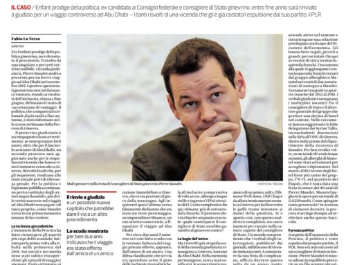 Nelle pieghe dell'affaire Maudet (Corriere del Ticino)