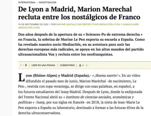 De Lyon a Madrid, Marion Marechal recluta entre los nostálgicos de Franco (Mediapart)